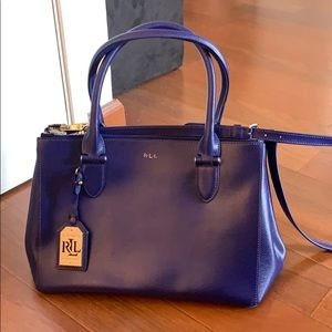 Lauren Ralph Lauren Newbury Blue Leather Satchel